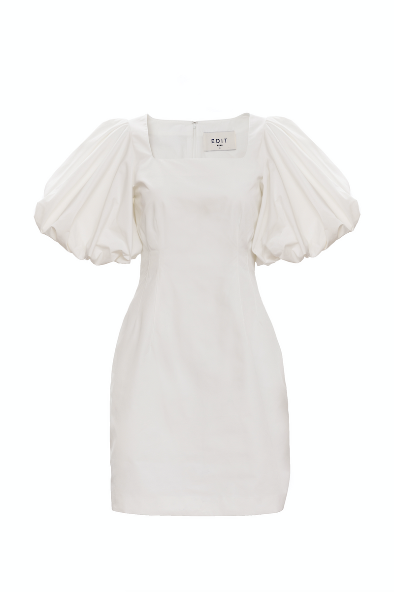 Balloon Sleeve Mini Square Neck Dress (Ivory)