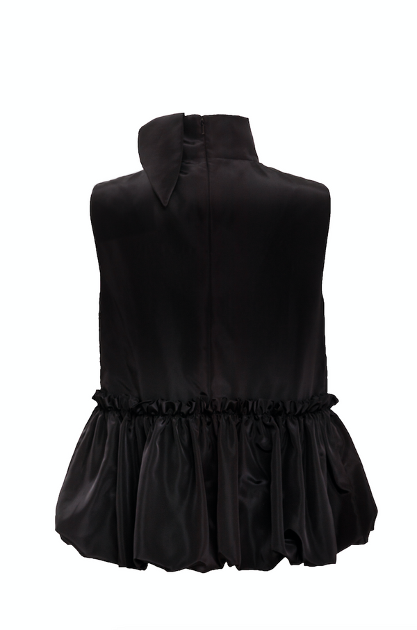 Scarf Neck Bubble Peplum Top (Black)
