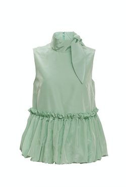Scarf Neck Bubble Peplum Top (Mint)