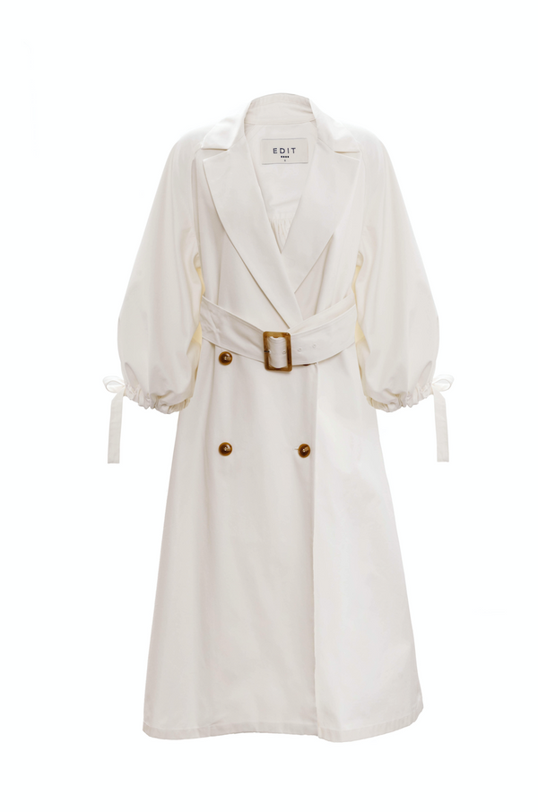 Drawcord Sleeve Trench (Ivory)