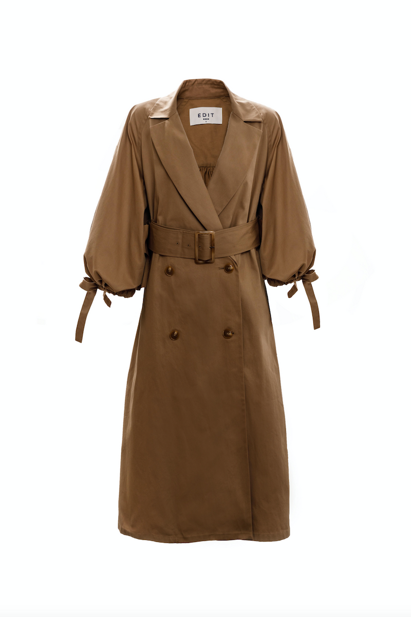 Drawcord Sleeve Trench (Camel)