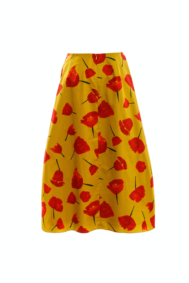 Drawcord Puff Skirt (Mustard/Red Print)