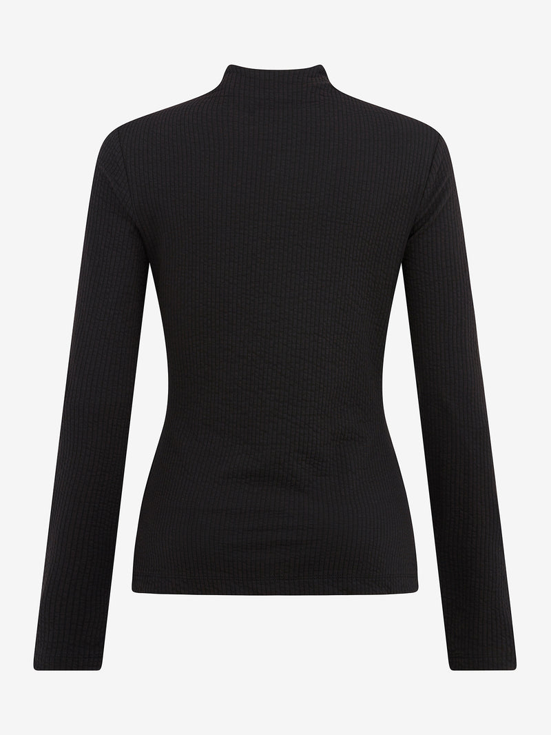 TEXTURED MOCK NECK TOP (Black)