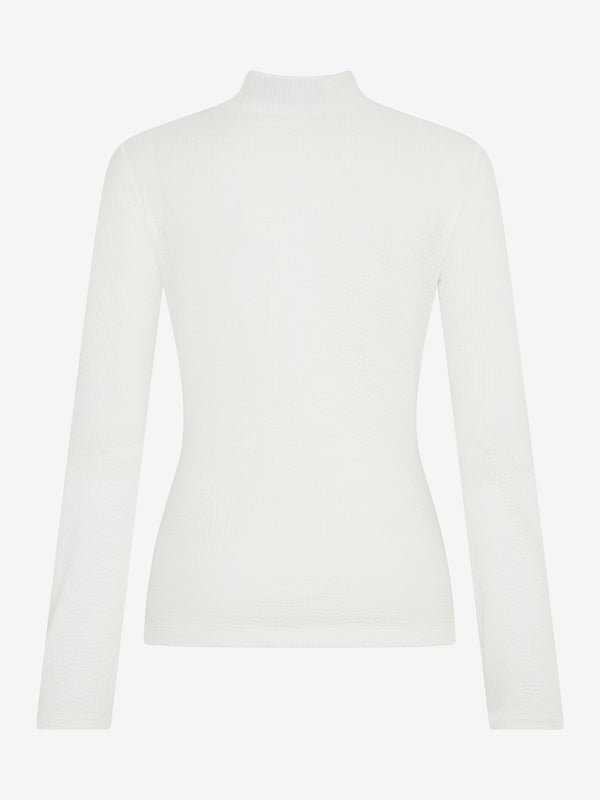 TEXTURED MOCK NECK TOP (Ivory)