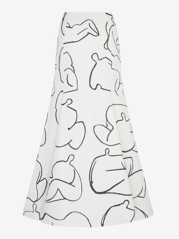Tuck Detail Fishtail Skirt (Ivory/Black print)