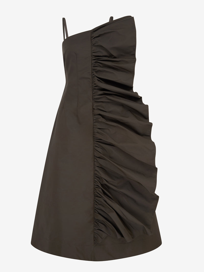 Tuck Frill Detail Strappy Dress (Moss)