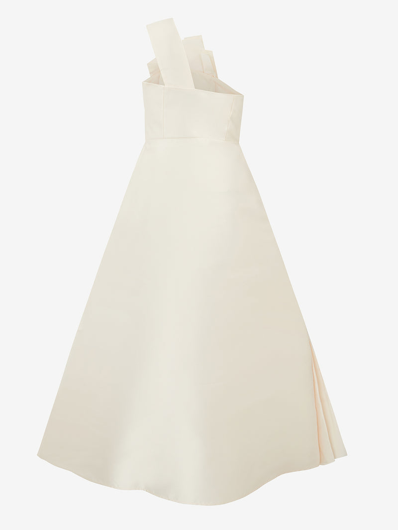 Architectural Pleated Dress (white satin)