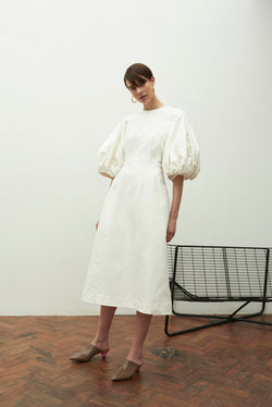 Balloon Sleeve Dress (white cotton drill)