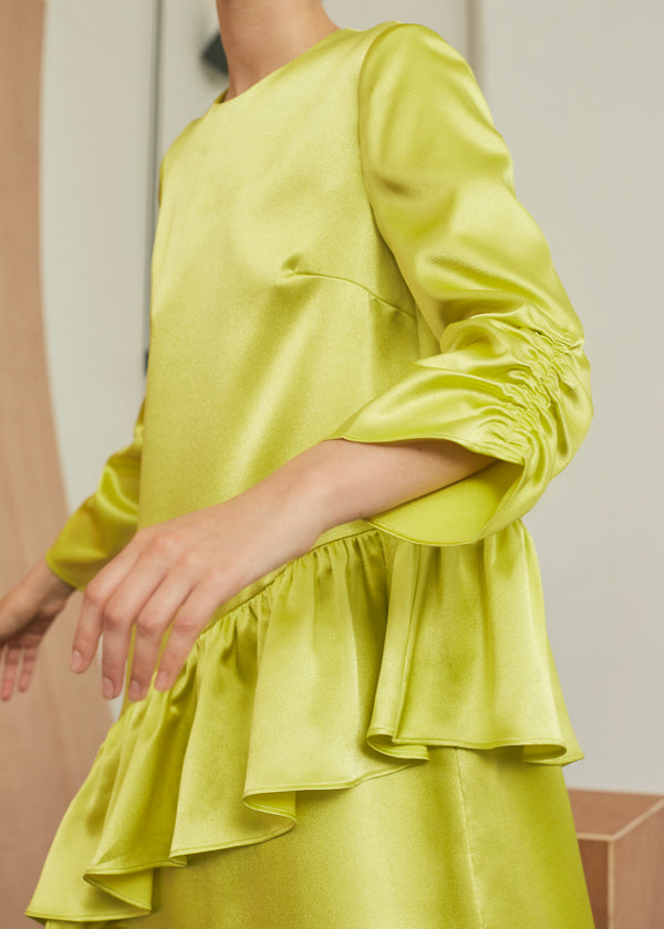 Insert Midi Frill Dress (neon satin)