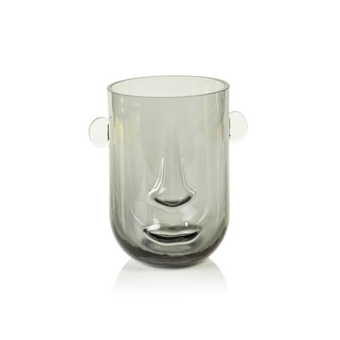 Paolo Face Glass Vase Smoke Gray