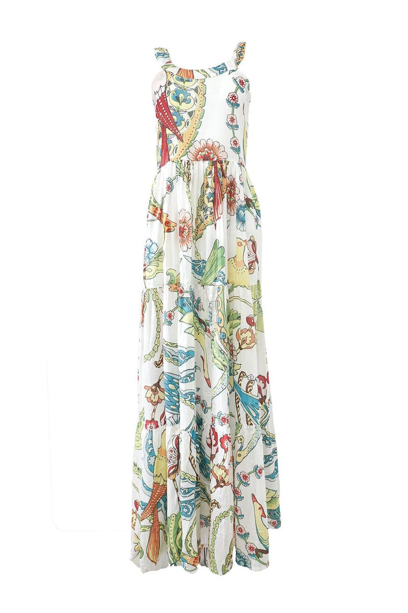 Tibet Tropical Bird Dress—White