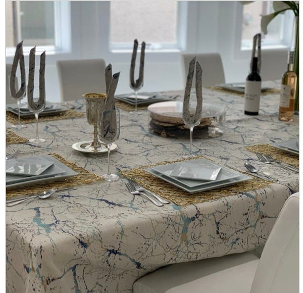 Jacquard Tablecloth Ivory, Gold and Blue