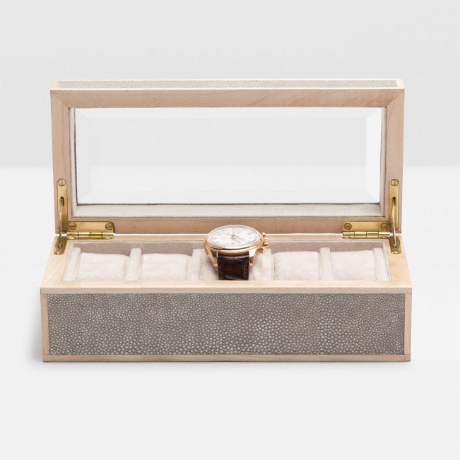 Elmbridge Watch Box in Faux Shagreen