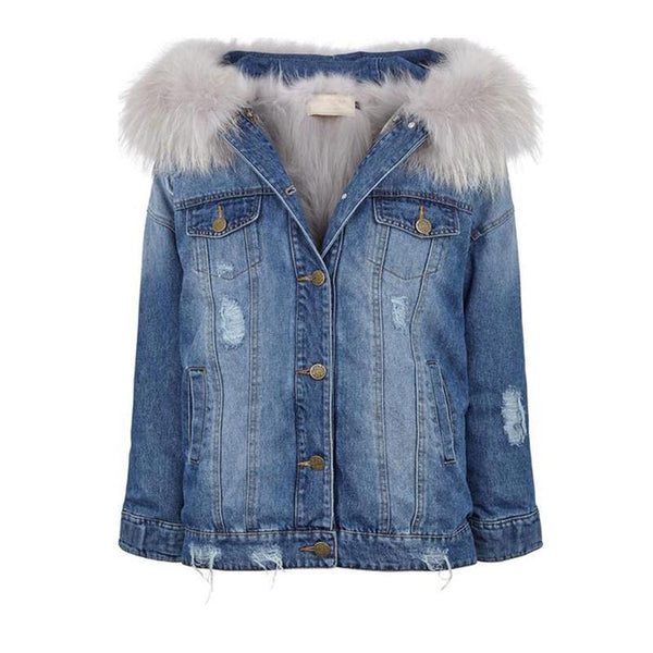 Denim Hooded Jacket lined with Raccoon