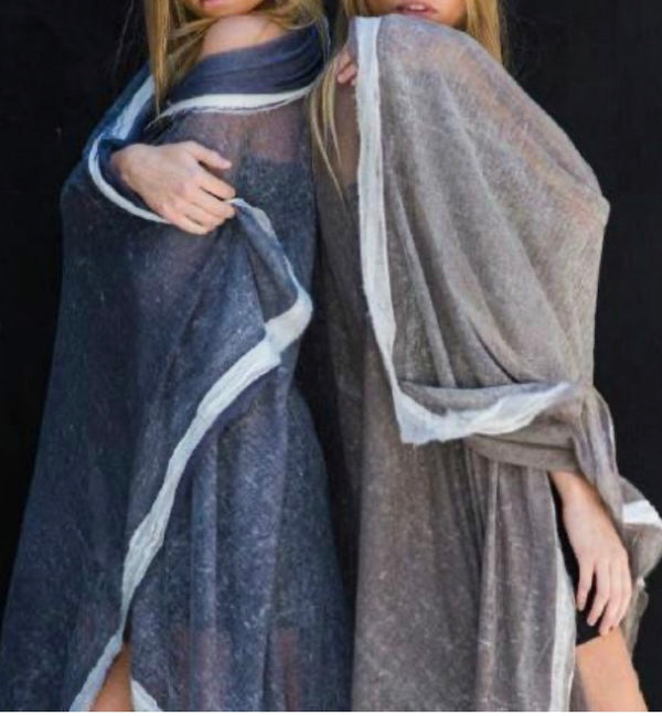 Oversized Chiffon Wrap Cashmere and Silk
