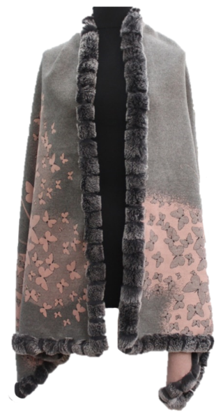 Wrap in pink and gray with fur trim