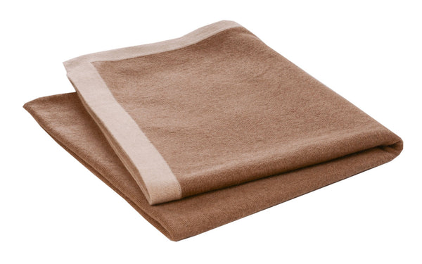White or Camel Bordered Camel Throws