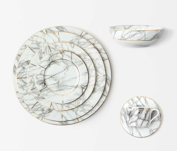 Eleni White Marble Dinnerware Set