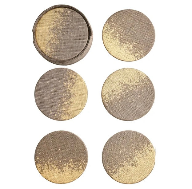 METAFOIL DRINK COASTERS IN TAUPE & GOLD, SET OF 6 IN A CADDY