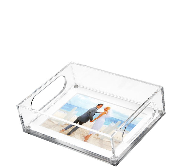 Small photo tray white mat