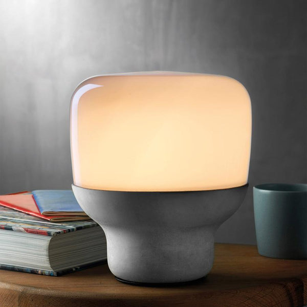 Smooth Lamp in Opaque Glass with Stone Base