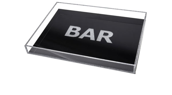 Bar Tray Black with Silver Glitter
