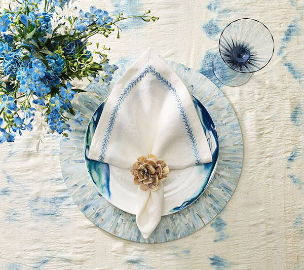 TAHITI PLACEMAT IN PERIWINKLE, SET OF 4