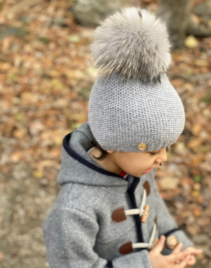 Honeycomb Grey Cashmere Beanie Hats