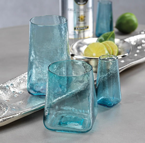 Hammered Glass Sets in blue or clear
