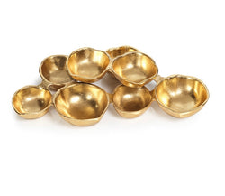 Small cluster of 8 serving bowls-gold