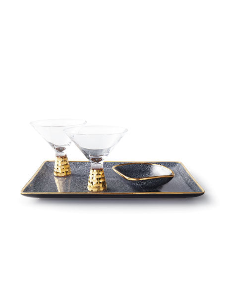 "Panthera Indigo 14"" Tray with 24k gold"