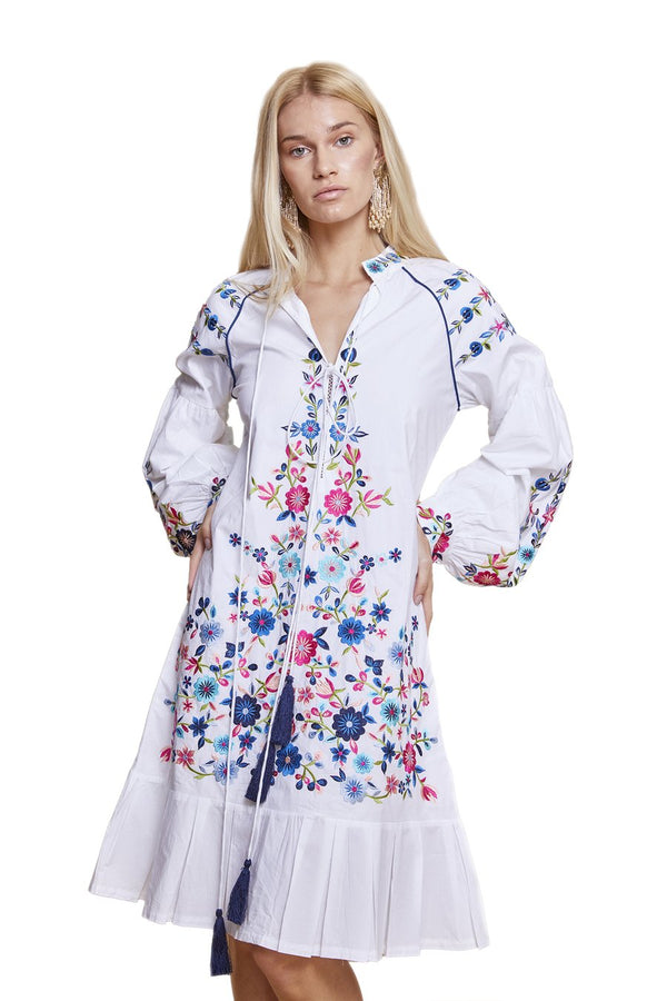 Midi Floral Dress White and Multi