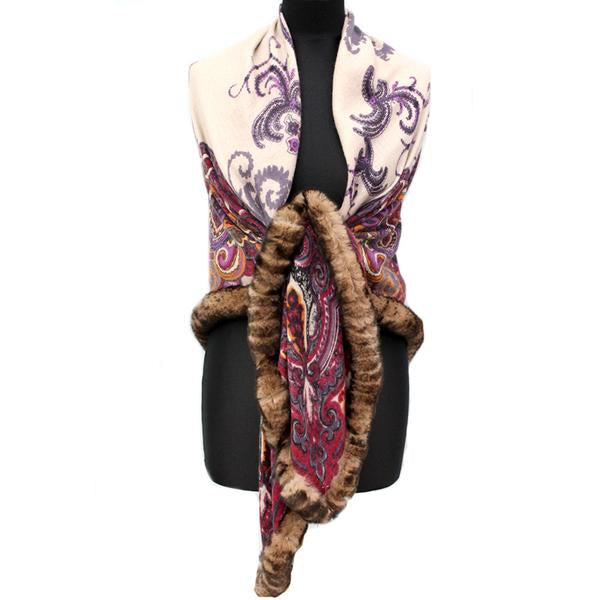 Paisley Cashmere Wrap with Fur Trim