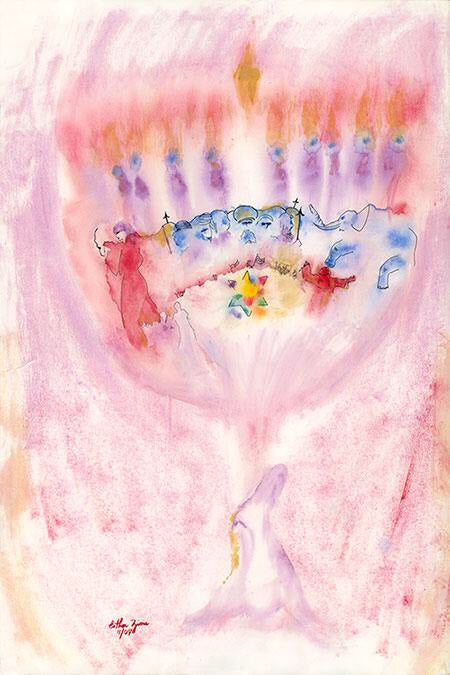 """ The Menorah""  by: Esther Zion Original Watercolor"