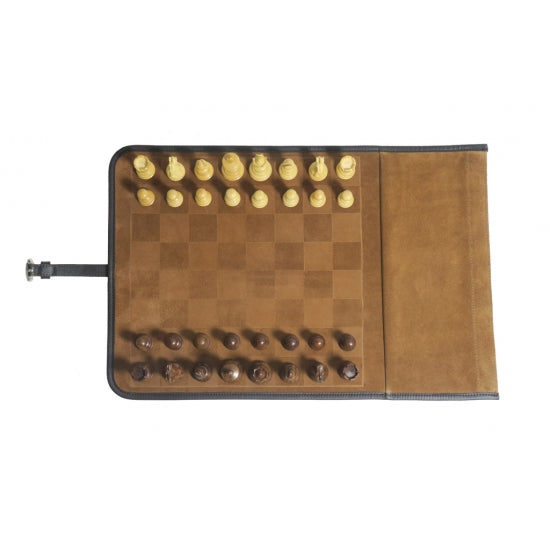 Travel Chess Leather Velvet In Cognac