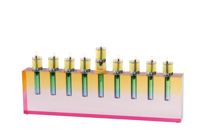 Oil Menorah Multi Color