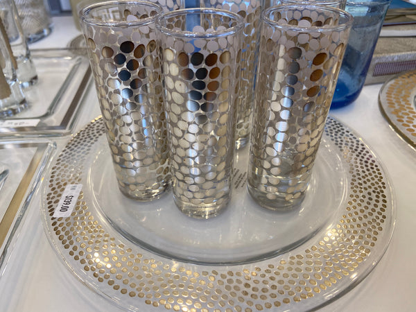 Silver Dotted Vodka Shot Glass Collection Set