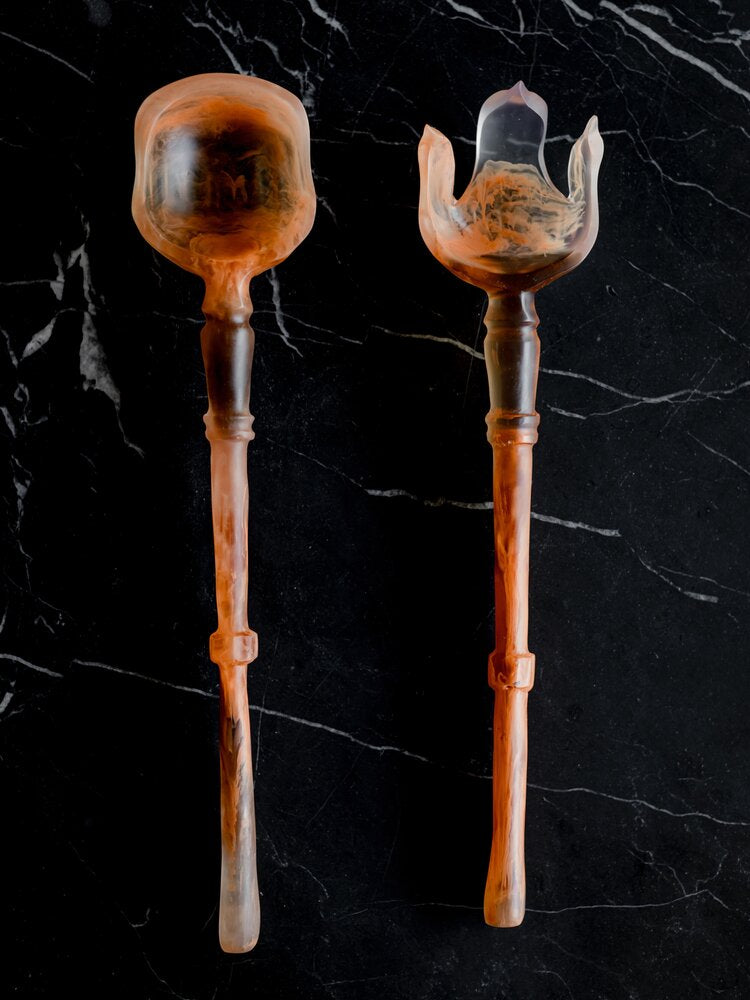 Carved Resin Salad Servers