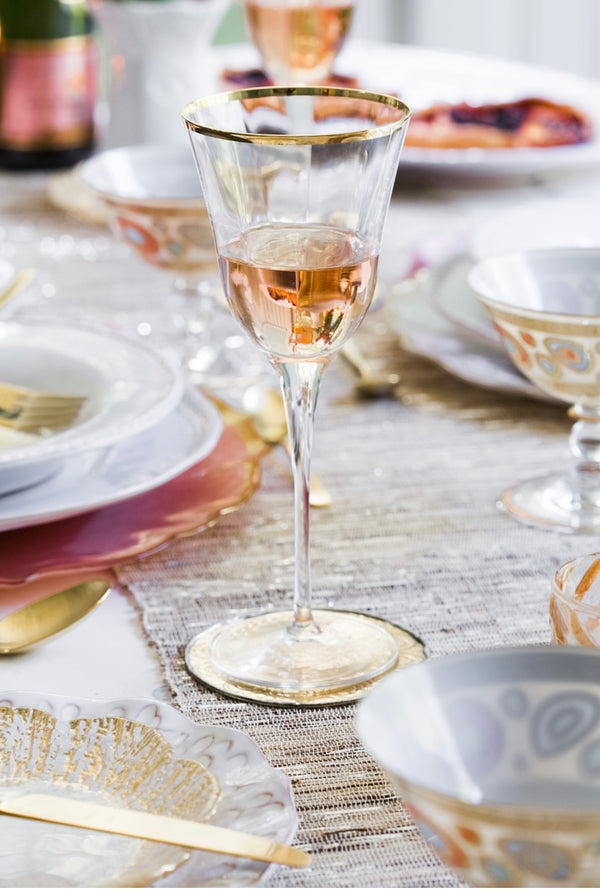 Optical Gold Wine Glass