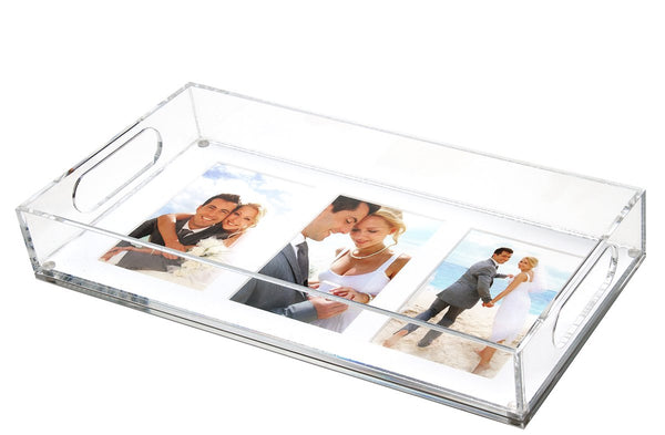 Horizontal 3 or 1 photo tray - white mat