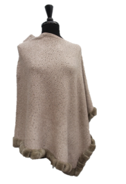 Poncho with embellished fur trim