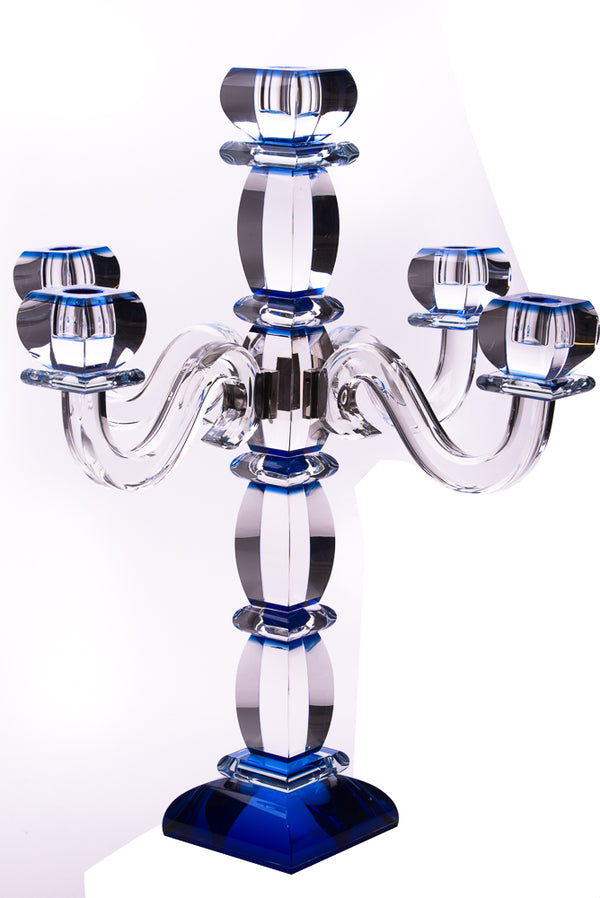 Blue Crystal Candelabra 5 Branches