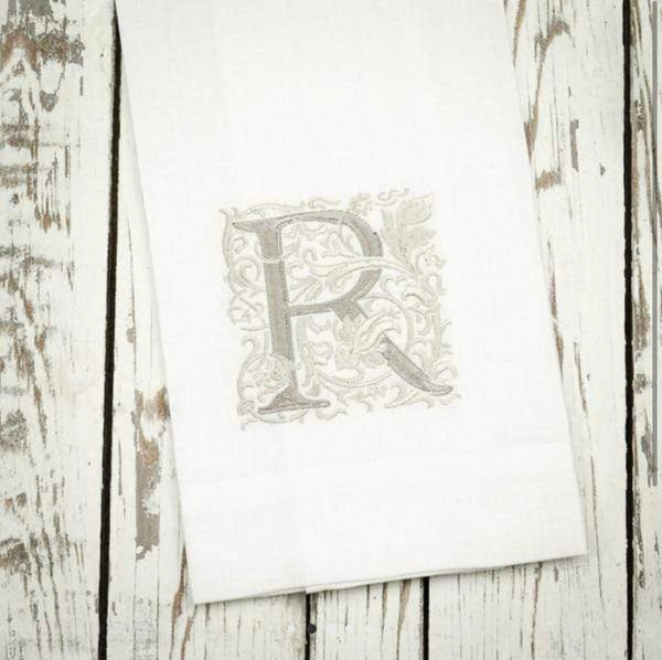 Monogram Linen Towels Set of 4