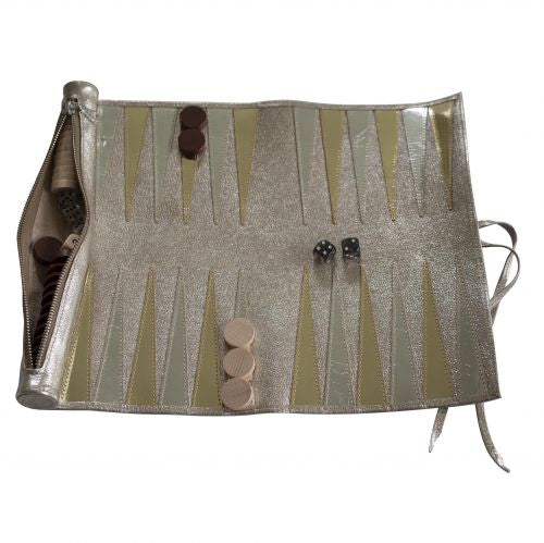 Metallic Leather Hand Made Travel Backgammon Set