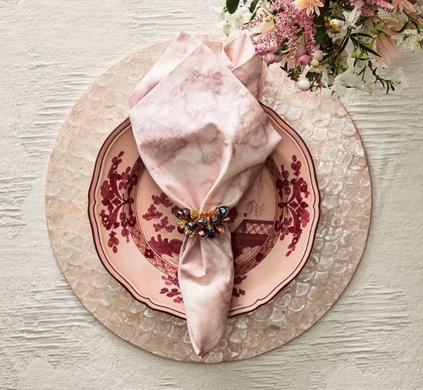 Camellia Placemat Navy or Blush Set of 4