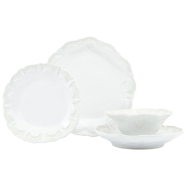 Incanto Stone Linen Lace Four-Piece Place Setting