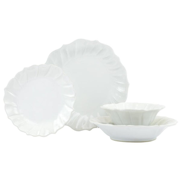 Incanto Stone Linen Ruffle Four-Piece Place Setting