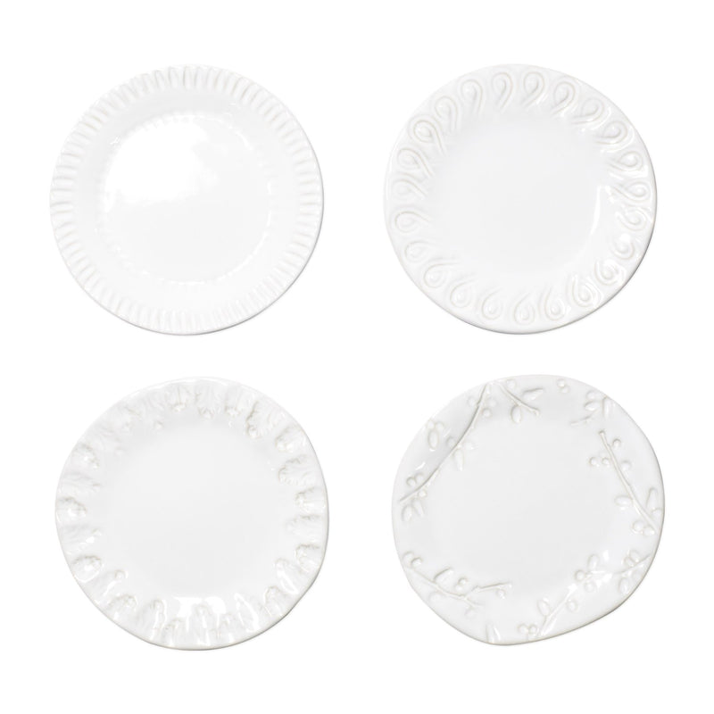 Incanto Stone White Assorted Canape Plates Set Of 4