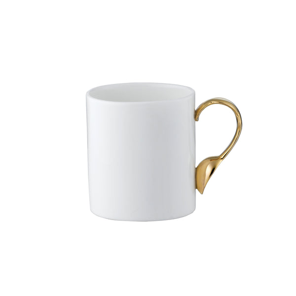 Cutlery Oval Mug with Gold Handle
