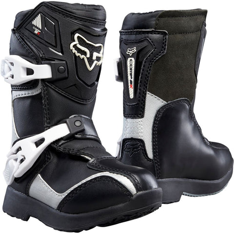 FOX RACING KIDS COMP 5 BOOTS - BLACK SILVER